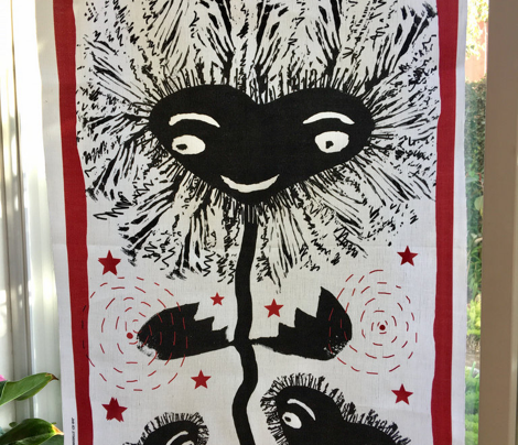 naive kawaii block print heart flowers tea towel