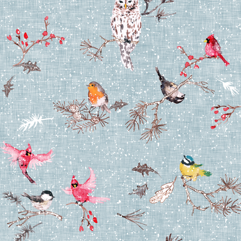 Snö birds (blue) fabric by nouveau_bohemian on Spoonflower - custom fabric