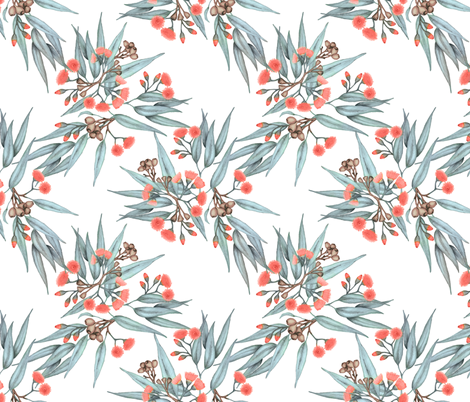 Gumnuts, Coral Blossoms and Grey Eucalyptus Leaves fabric by thistleandfox on Spoonflower - custom fabric