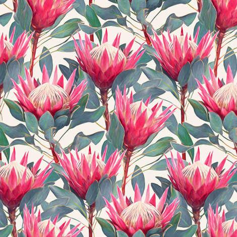 Painted King Proteas - hot pink on cream SMALL fabric by micklyn on Spoonflower - custom fabric