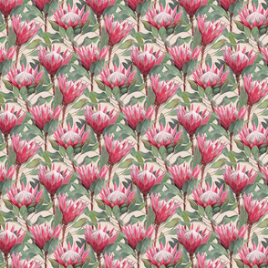 Painted King Proteas - pink on dark cream SMALL