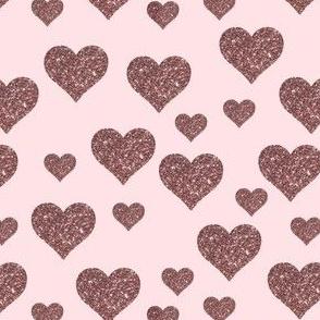 Rose Gold Scattered Hearts on Pastel Pink