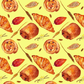 Bakery_products_watercolor_pattern_on_beige
