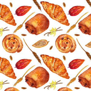 Bakery_products_watercolor_pattern_on_white