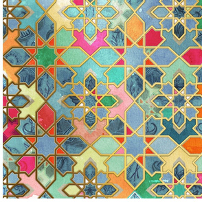 Vertical Gilt & Glory - Colorful Moroccan Mosaic