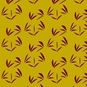 Russet Oriental Tussocks on Antique Gold- Medium Scale