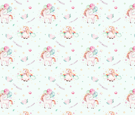 Watercolor unicorn world_7 fabric by peace_shop on Spoonflower - custom fabric