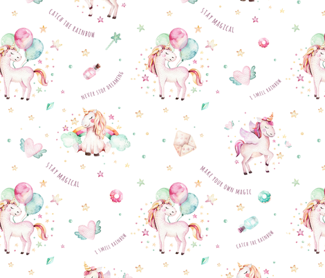 Watercolor unicorn world_11 fabric by peace_shop on Spoonflower - custom fabric