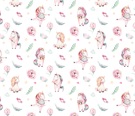 Watercolor unicorn world_18 fabric by peace_shop on Spoonflower - custom fabric