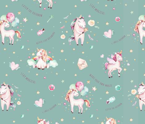 Watercolor unicorn world_21 fabric by peace_shop on Spoonflower - custom fabric