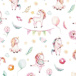 Watercolor unicorn world_24
