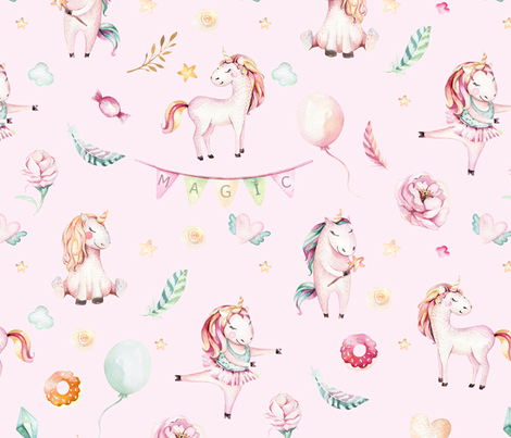 Watercolor unicorn world_25 fabric by peace_shop on Spoonflower - custom fabric