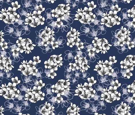 Spring Cherry Blossom  fabric by lilalottadesign on Spoonflower - custom fabric