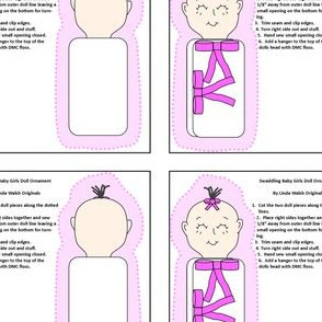 Baby Girl Swaddling Cut and Sew Doll Ornament Fabric Collection
