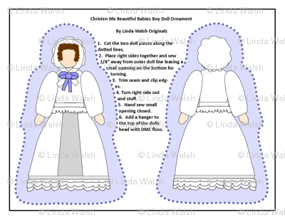 Baby Boy Christening Cut and Sew Doll Ornament Fabric Collection