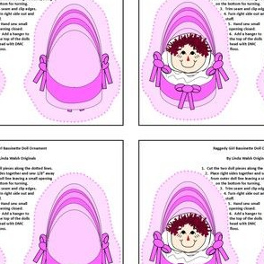Bassinet Girl Baby Heads Cut and Sew Doll Ornament Fabric Collection