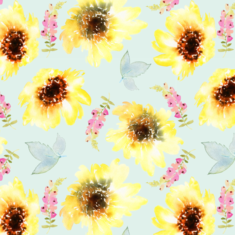 "6"" Sunflower Garden fabric by hipkiddesigns on Spoonflower - custom fabric"