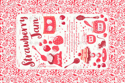 Strawberry Jam Recipe Tea Towel