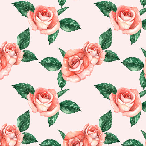 Red Garden Roses // Blush (Small Scale) fabric by hipkiddesigns on Spoonflower - custom fabric