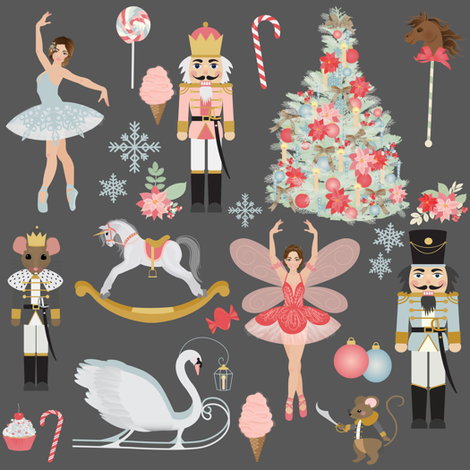 "8"" Nutcracker Dream // Gray fabric by hipkiddesigns on Spoonflower - custom fabric"