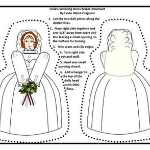 Celia's Wedding Dress Bridal Cut and Sew Doll Ornament Fabric Collection