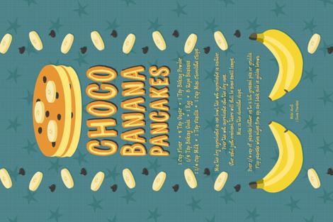 Choco Banana Pancakes Recipe Tea Towel fabric by robyriker on Spoonflower - custom fabric
