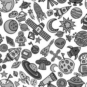"""Simple Space Objects Black and White 6"""""""
