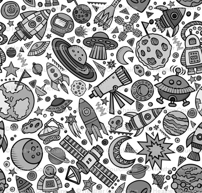 Busy Space Objects Black and White 6""