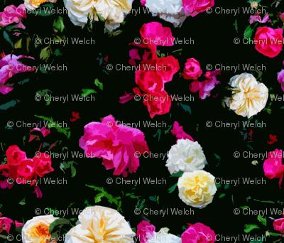 Dark Floral Rose Garden