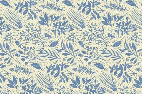 Culinary Herbs (blue on cream) fabric by seesawboomerang on Spoonflower - custom fabric