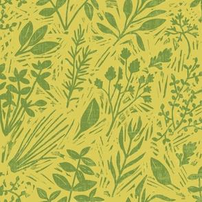 Culinary Herbs (green on mustard)