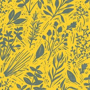 Culinary Herbs (grey on yellow)
