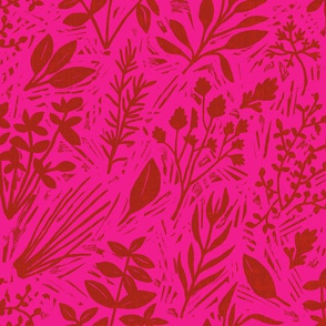 Culinary Herbs (red on pink)