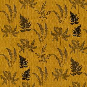 Ferns on mustard burlap