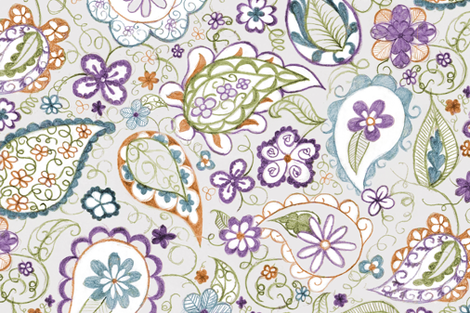 BotanicalBlockPrintLarge fabric by blairfully_made on Spoonflower - custom fabric