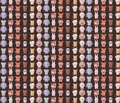Cartoon Animals - 15 in (brown) fabric by studiofibonacci on Spoonflower - custom fabric
