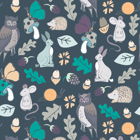 owls in the woods fabric by gemmacosgroveball on Spoonflower - custom fabric