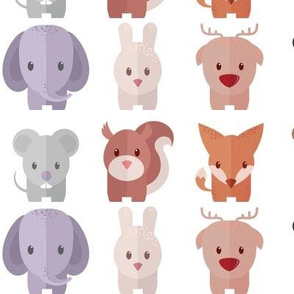 Cartoon Animals - 30 in (white)