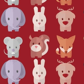 Cartoon Animals - 30 in (red)