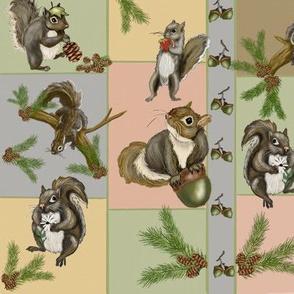Curious  Squirrels checkered plaid by Salzanos