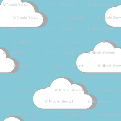 fluffy clouds blue sky regular scale