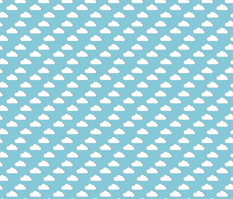 fluffy clouds blue sky regular scale fabric by lub_by_lamb on Spoonflower - custom fabric