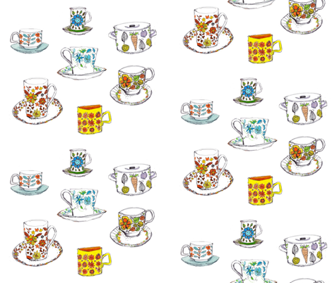 Vintage cups fabric by craftylittlehouse on Spoonflower - custom fabric