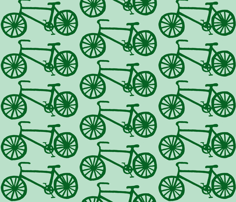 Bicycle in Green & mint fabric by maplemoondesigns on Spoonflower - custom fabric
