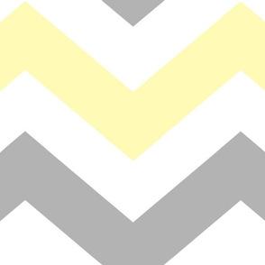 Yellow Gray Grey Chevron Large