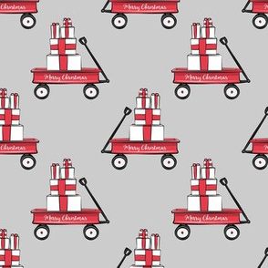 red wagon with gifts on grey / no green