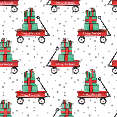 watercolor red wagon on snow fabric by littlearrowdesign on Spoonflower - custom fabric