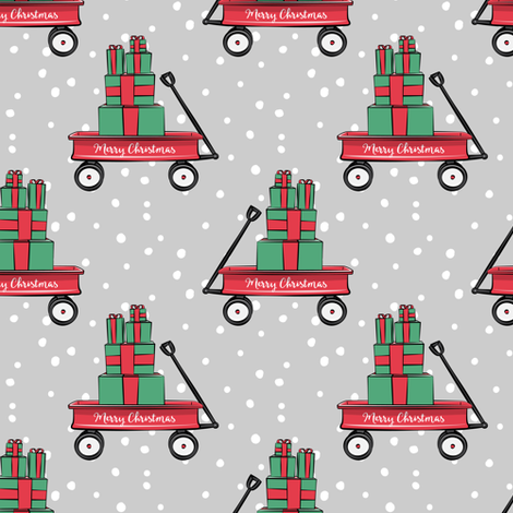 red wagon with gifts on grey  fabric by littlearrowdesign on Spoonflower - custom fabric