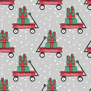 red wagon with gifts on grey