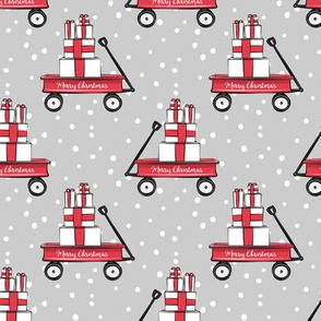 red wagon on grey w/snow